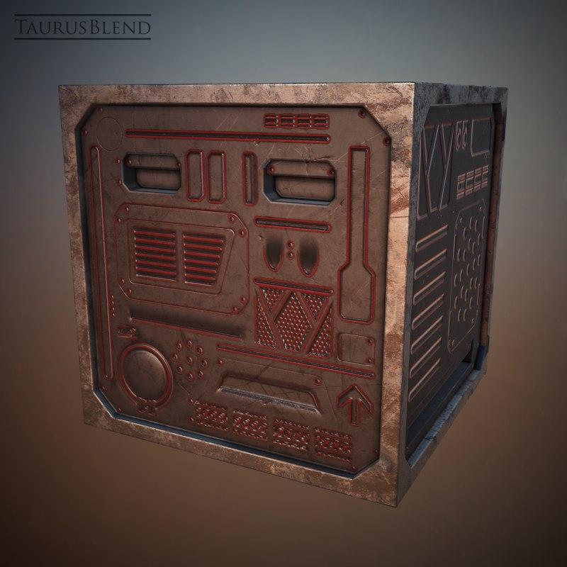 3d futuristic steel crate