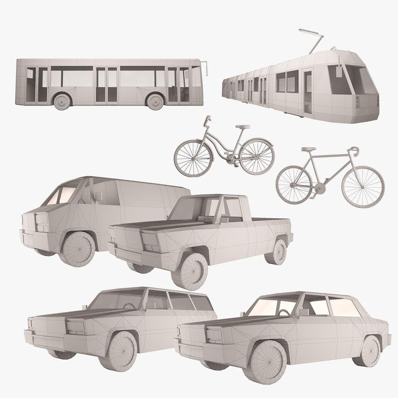simple transportation set simply 3d model
