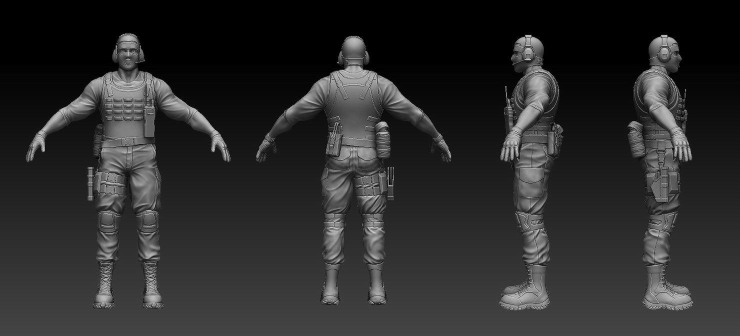 zbrush sculpt soldier 3d 3ds