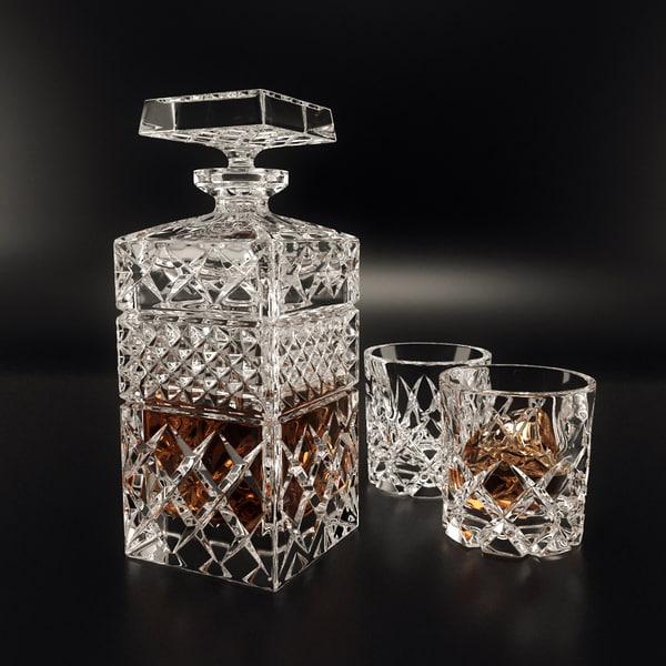 3d set decanter bohemia model