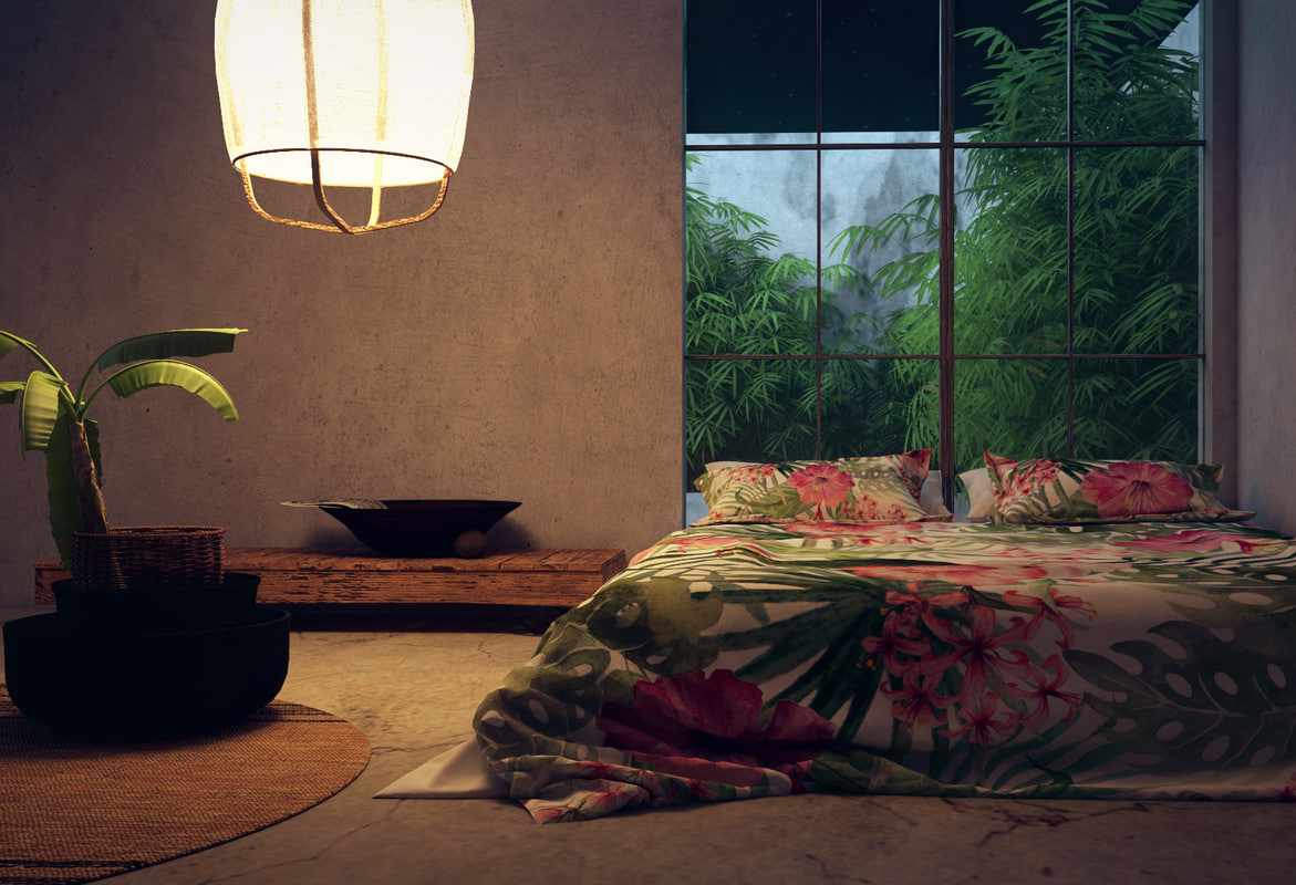bedroom tropical 3d obj