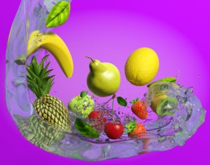 obj scene mixed fruits water