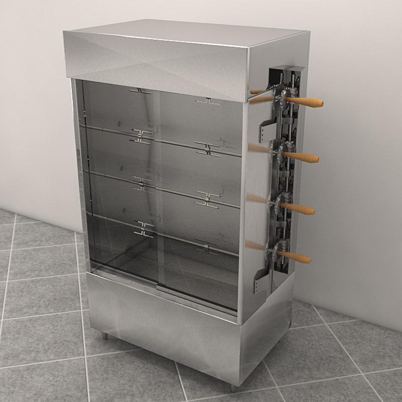 3d model rotisserie bakeries chitken