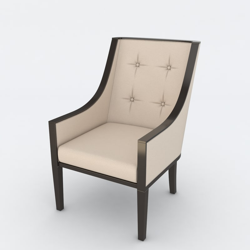 white leather chair 3d model
