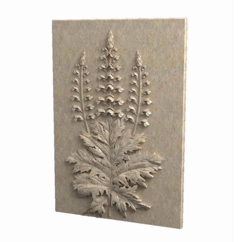 3d obj acanthus bas-relief