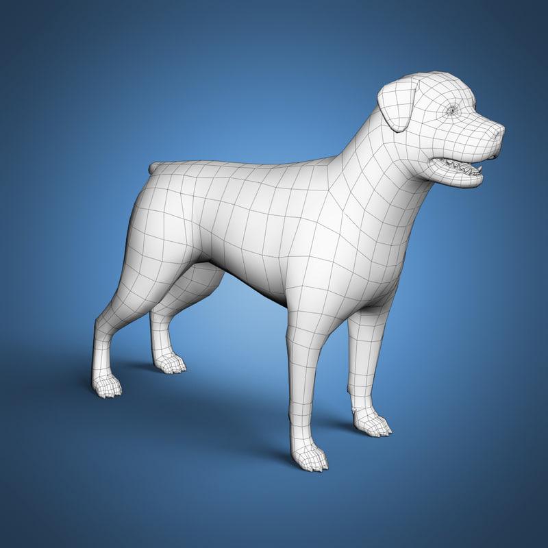 3d rottweiler base mesh dog