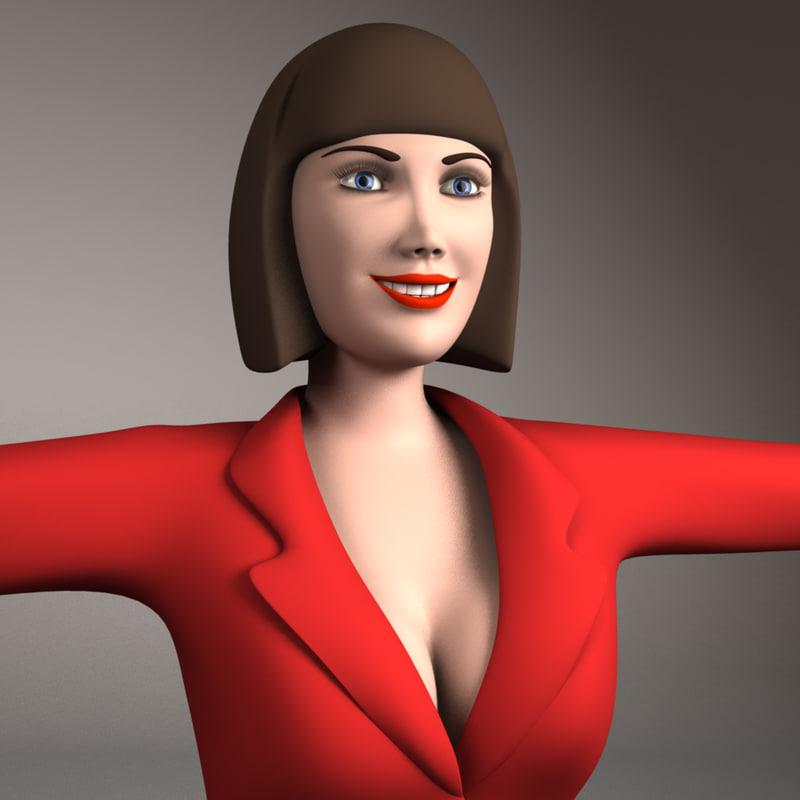 3d model woman girl female
