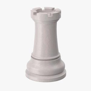 chess pieces rook white 3d obj