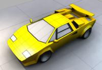 Italian Sports Car - Low Poly