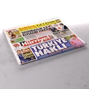3d hurriyet newspaper folds model
