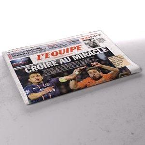 3d model l equipe newspaper folds
