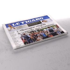 3d le figaro newspaper folds model