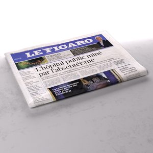 3d model le figaro newspaper folds