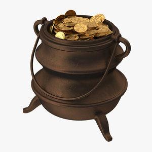 3d model pot gold