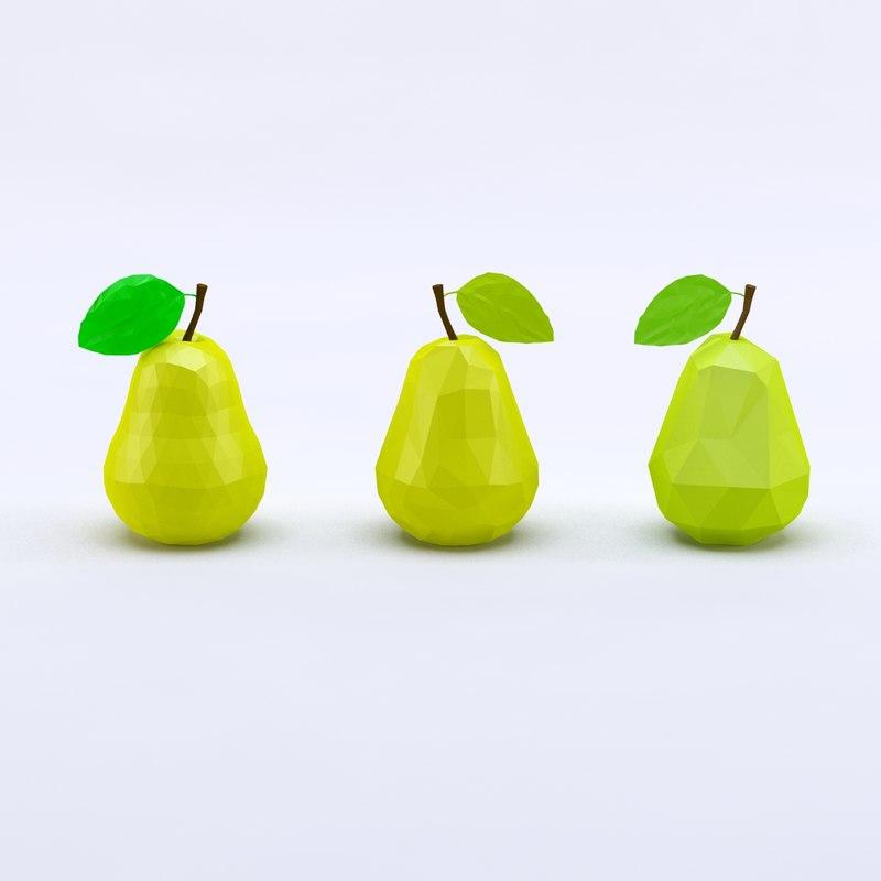 cartoon toon pear 3d model