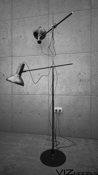 3d black floor lamp