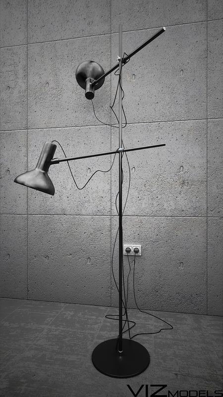3d black floor lamp