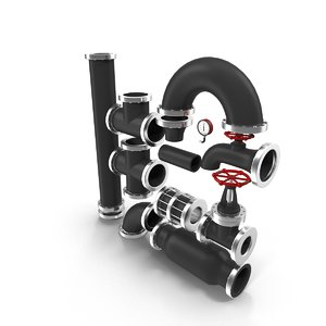 3d model of pipes industrial
