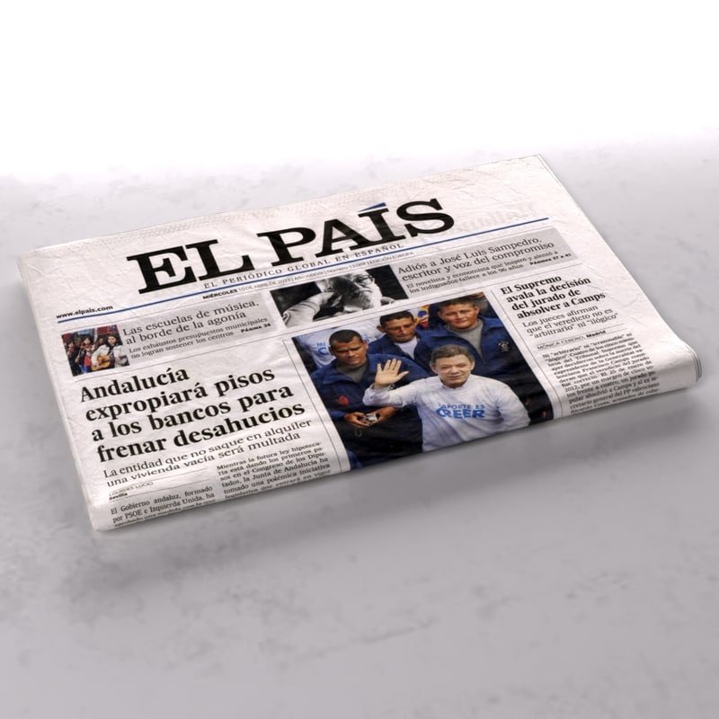 3d El Pais Newspaper Folds Model