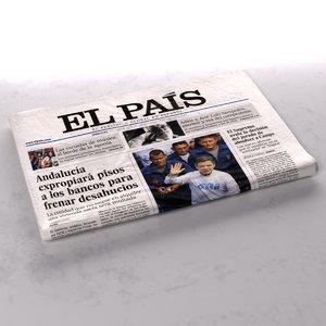 3d el pais newspaper folds model
