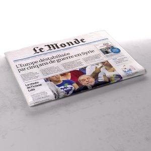 3d model le monde newspaper folds