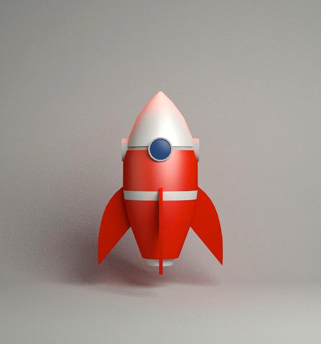 cartoon rocket 3d max