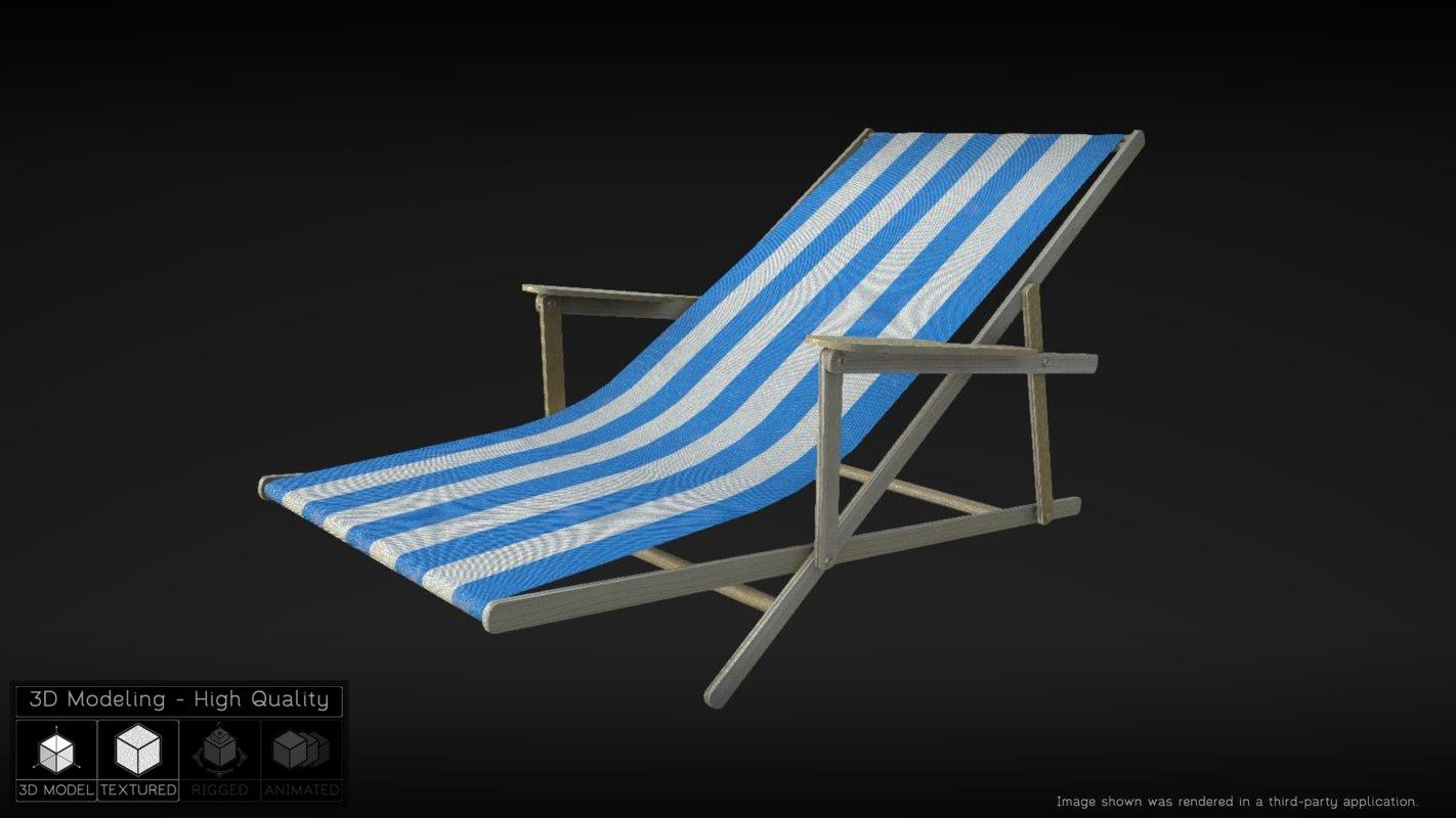 folding beach chair 3d x