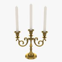3d triple bronze candelabrum