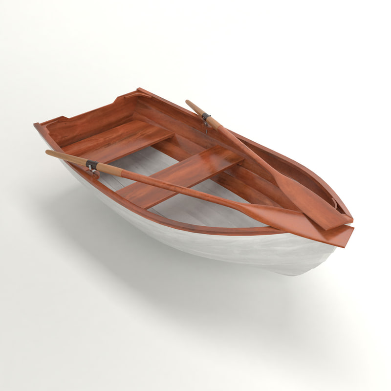 wooden rowing boat 3d max