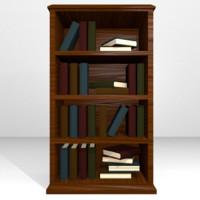 3d wooden bookshelf books