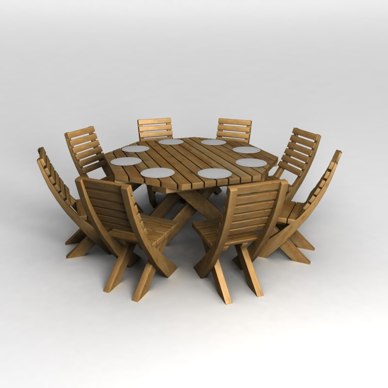 3d model of octagon patio table chairs
