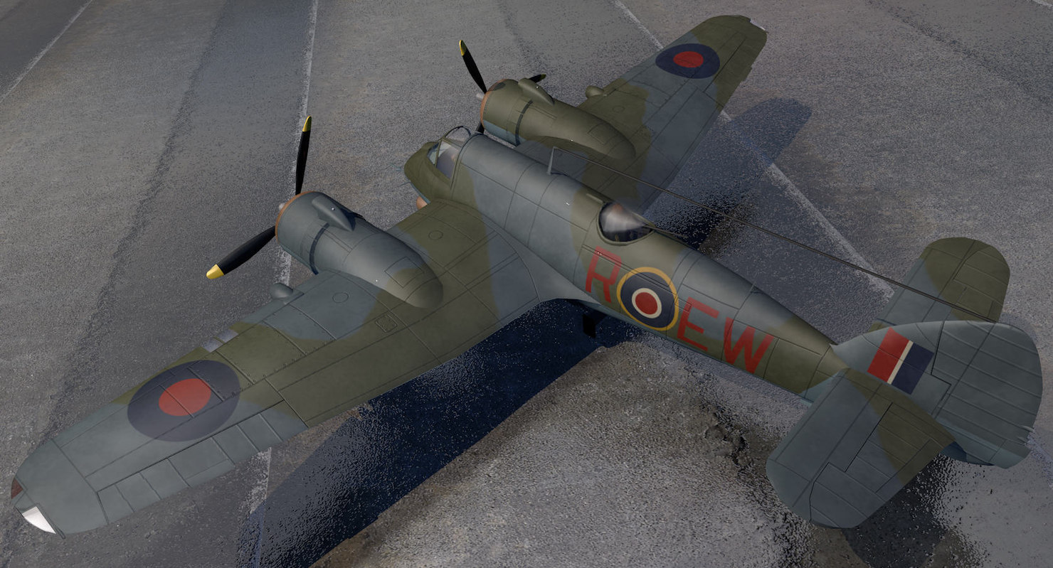 3d bristol beaufighter mk-10 fighter aircraft model