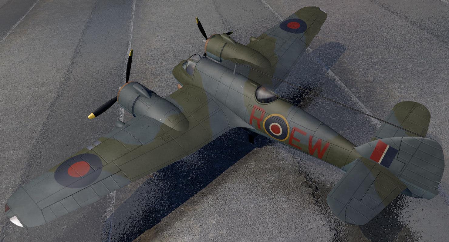3d bristol beaufighter mk-10 fighter aircraft model