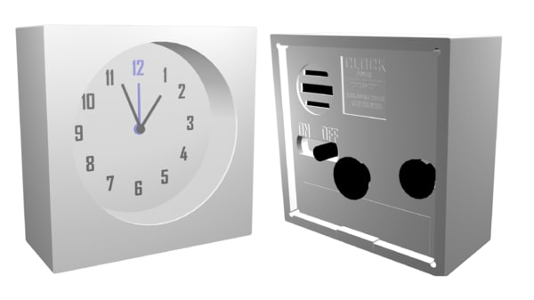 simple modern clock obj
