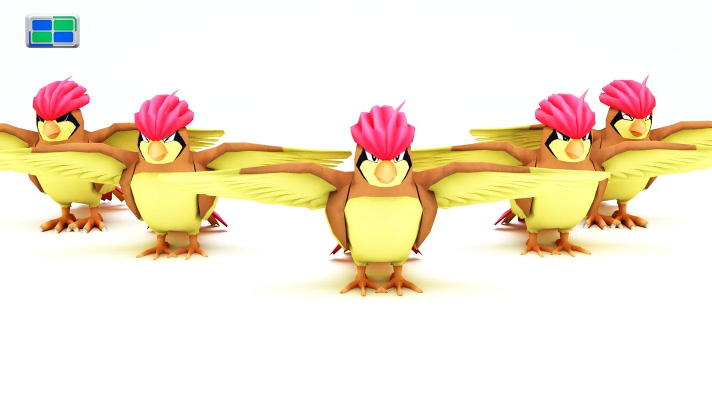 pidgeotto pokemon 3d model