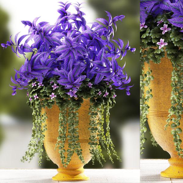 3d plant 56 flowers