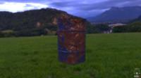3d model rusty dented barrel