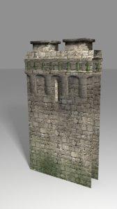 medieval wall 3d obj