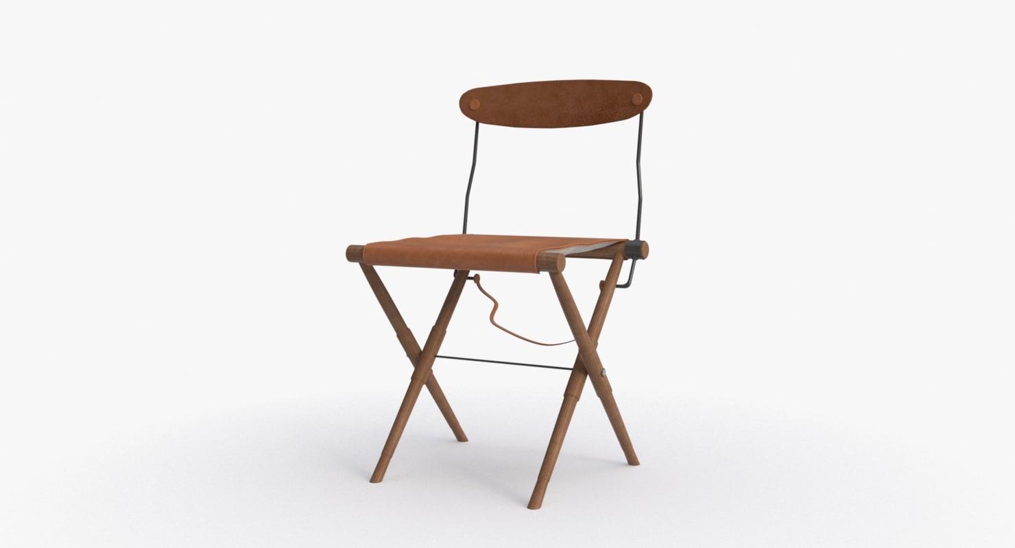 3d bddw campaign chair wood model