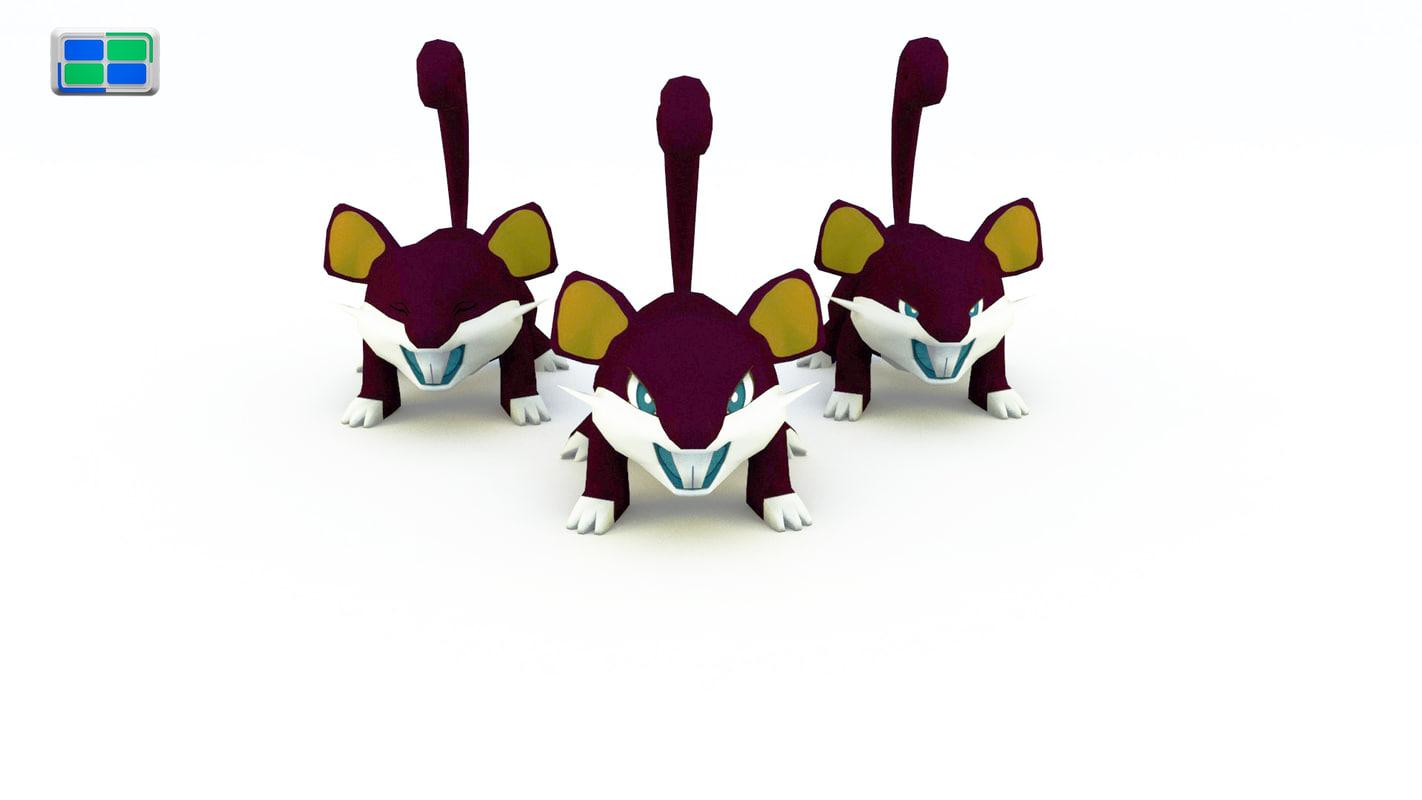 rattata charmander pokemon 3d model