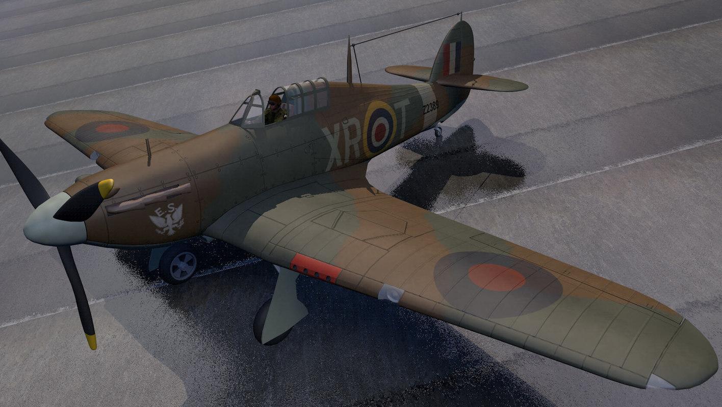 3d hawker hurricane mk-1 fighter aircraft