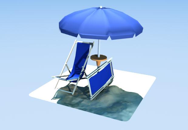 3d model beach umbrella deckchairs