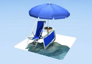 3d model beach umbrella deckchairs