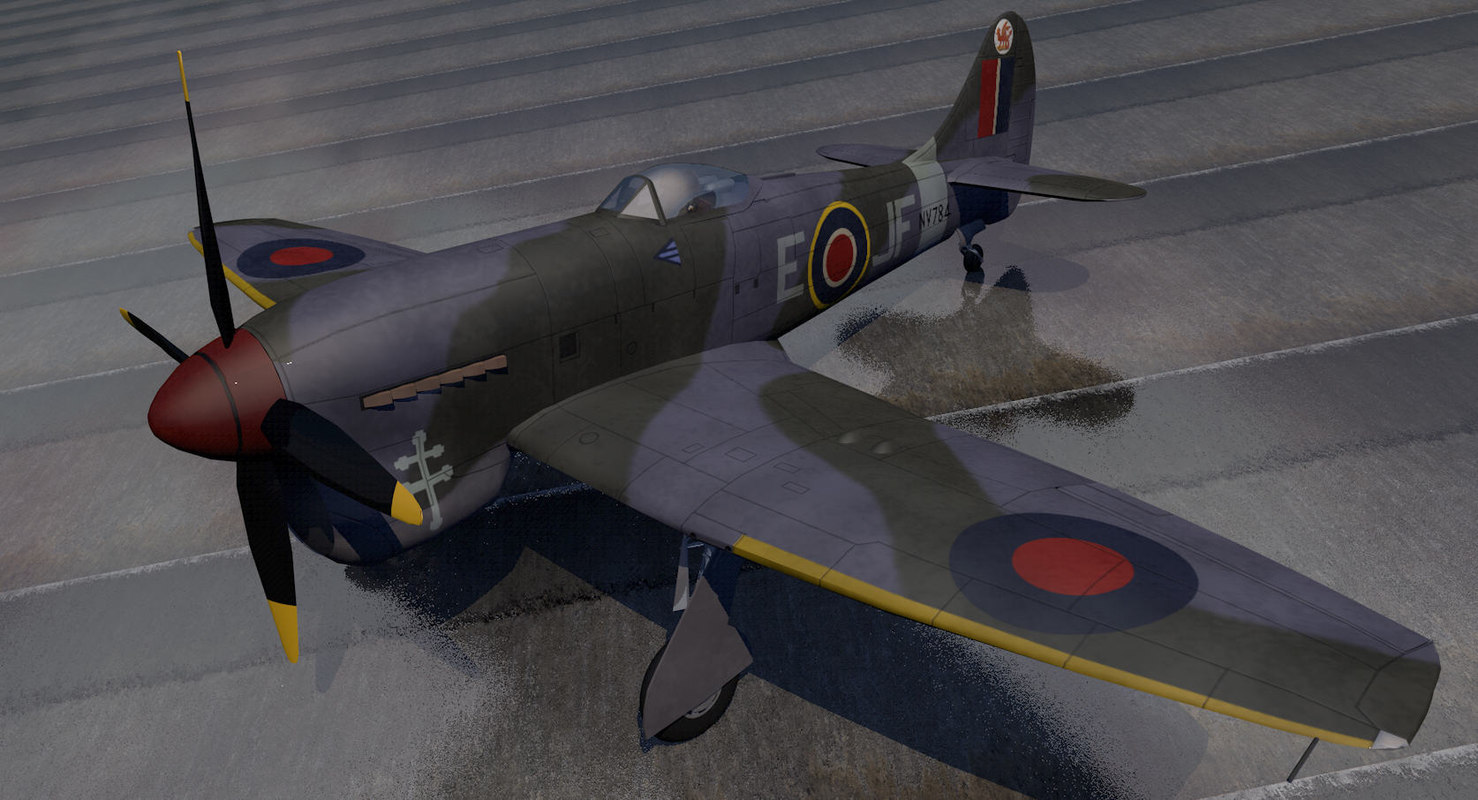 3d model hawker tempest mk-5 fighter aircraft