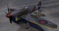 3d model hawker tempest mk-5 fighter aircraft