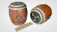 3d model taiko drums