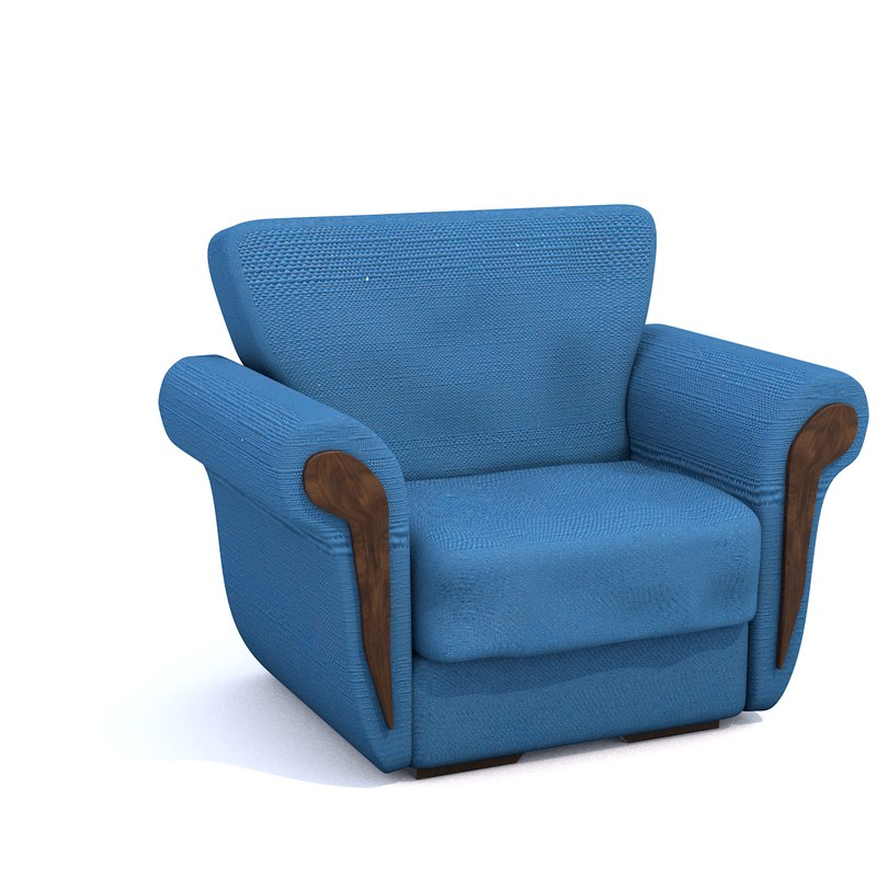3d blue chair model