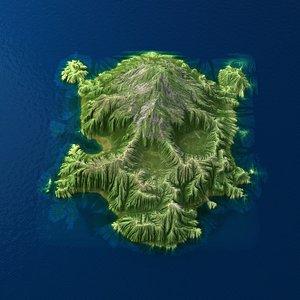 3d model tropical island terrain