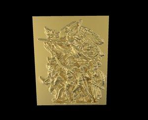 free obj model triumphal arch bas-relief