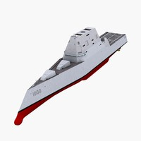 3d model uss zumwalt ddg-1000 guided missile